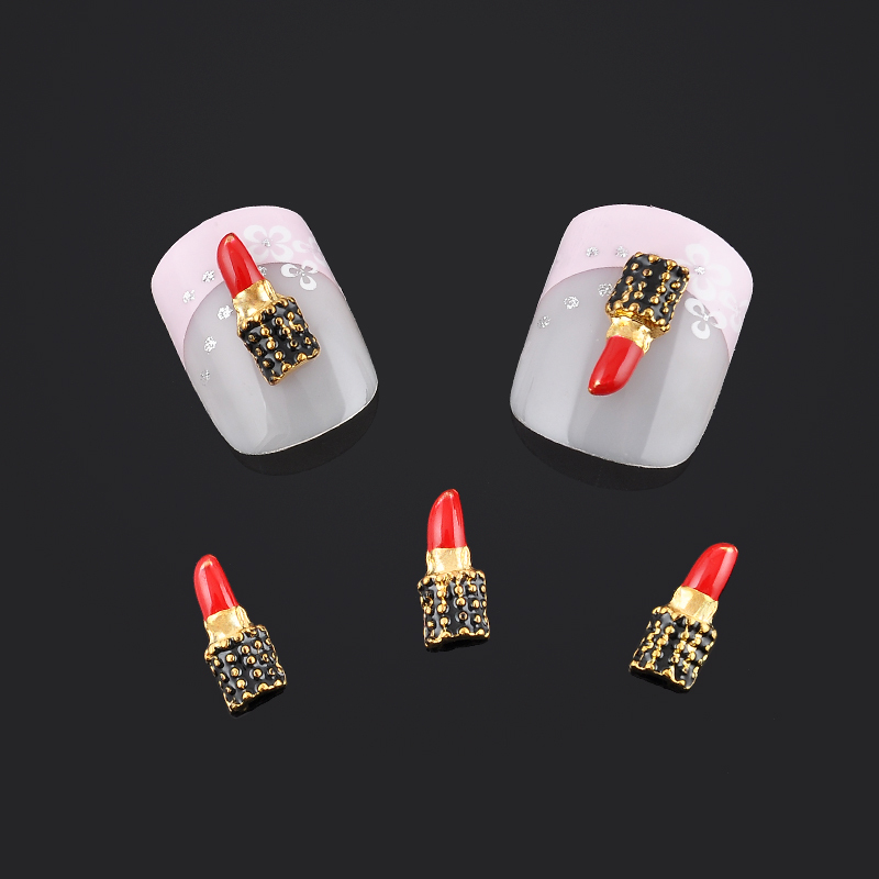 Купить Fashion Lipstick Design 3d Nail Jewelry 10pcs Pack Alloy Nail Art Decorations Jewelry For