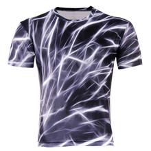 Men's Fashion 3D T-Shirt Polyester Creative lightning / smoke lion / Lizard / water droplets 3d printed short sleeve T shirt