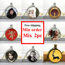 Wholesale Game of Thrones Necklace House of Stark Jewelry Glass Cabochon Dome Pendant Picture Necklace(China (Mainland))