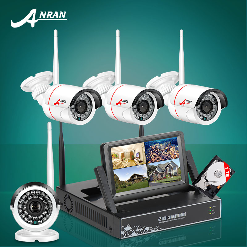 New Listing Plug and Play 4CH CCTV System Wireless 7 Inch LCD Screen NVR Kit P2P 720P HD Outdoor Security Wifi IP Camera 1TB HDD(China (Mainland))
