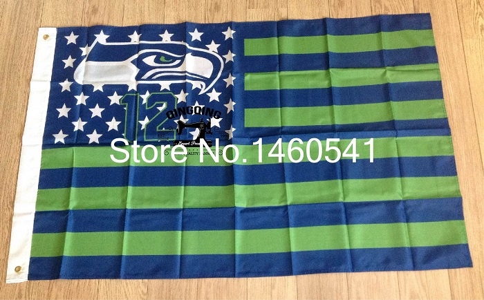 Seattle Seahawks 12 with modified US Flag 3ft x 5ft Polyester NFL Banner Flying Size No.4 144* 96cm QingQing Flag(China (Mainland))