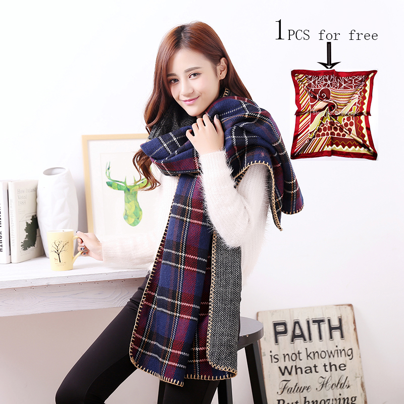za Winter Plaid bufandas 2016 Fashion Warm Scarves Checked Blanket Long Wool Blend Scarf Shawl Women Shawls Poncho S-006(China (Mainland))