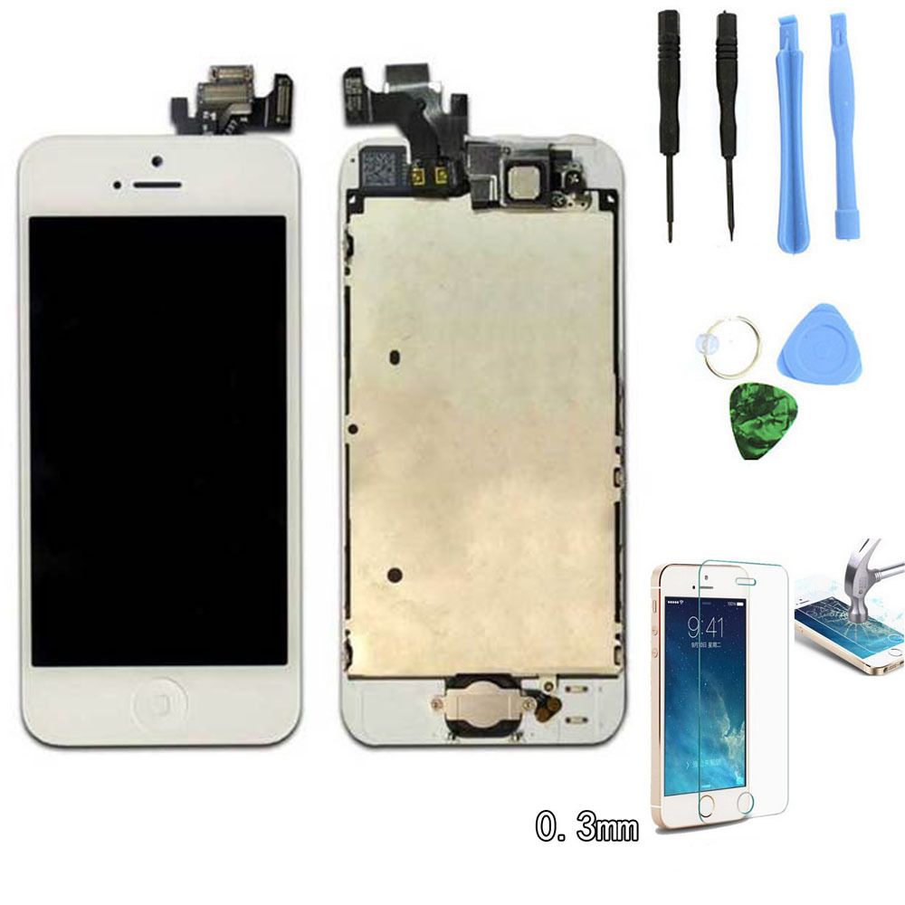 White Full Front Touch Screen Digitizer LCD Display Repair Assembly Replacement for iPhone 5 LCD Display +Tempered glass Tools(China (Mainland))