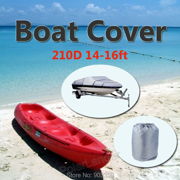 2015 Boat Cover 210D Oxford V-Hull Speedboat Cover 14-16ft High Quality Prevent UV Sunproof Waterproof Grey