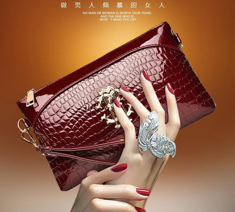 New Fashionista Korean 2015 women bag Crocodile Hand bags women's Shoulder Messenger Clutch Handbags ladies leather purse(China (Mainland))