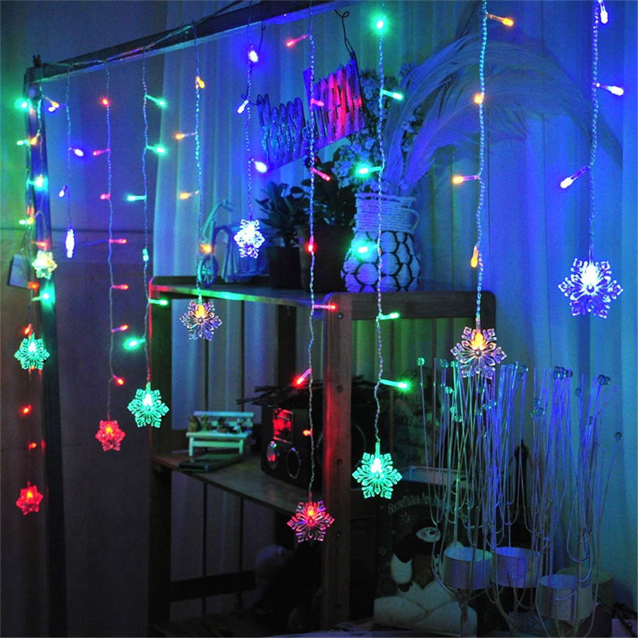 Led Icicle String Lights With Ice Drop : Snow Shape LED Curtain String 3M 96Leds 16 Drop Lines Fairy light curtain icicle For Wedding ...