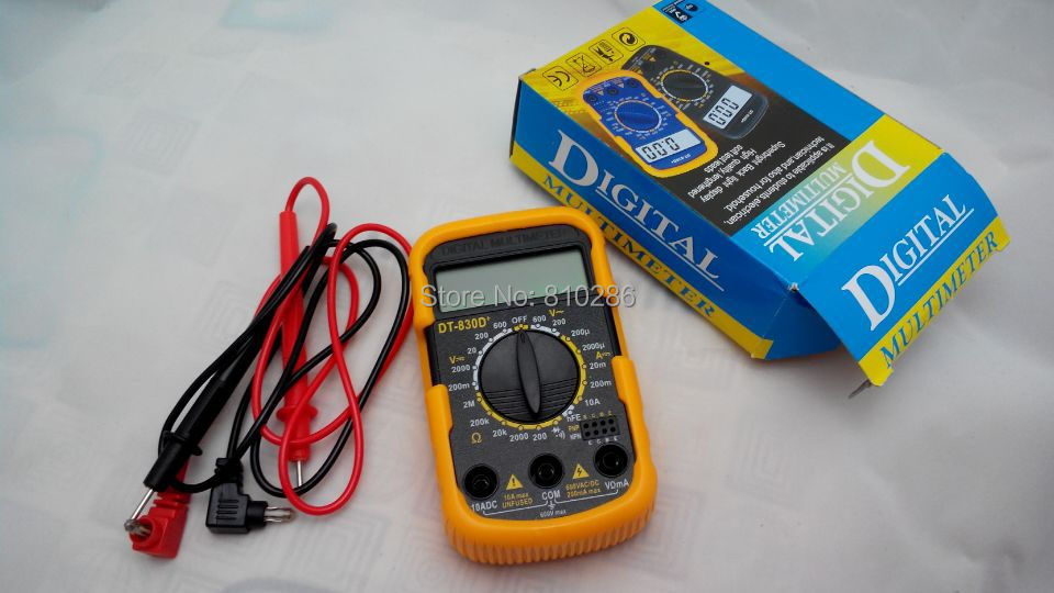 The lowest price smart Digital LCD Multimeter DT830D AC/DC Ammeter Resistance Capacitance(China (Mainland))