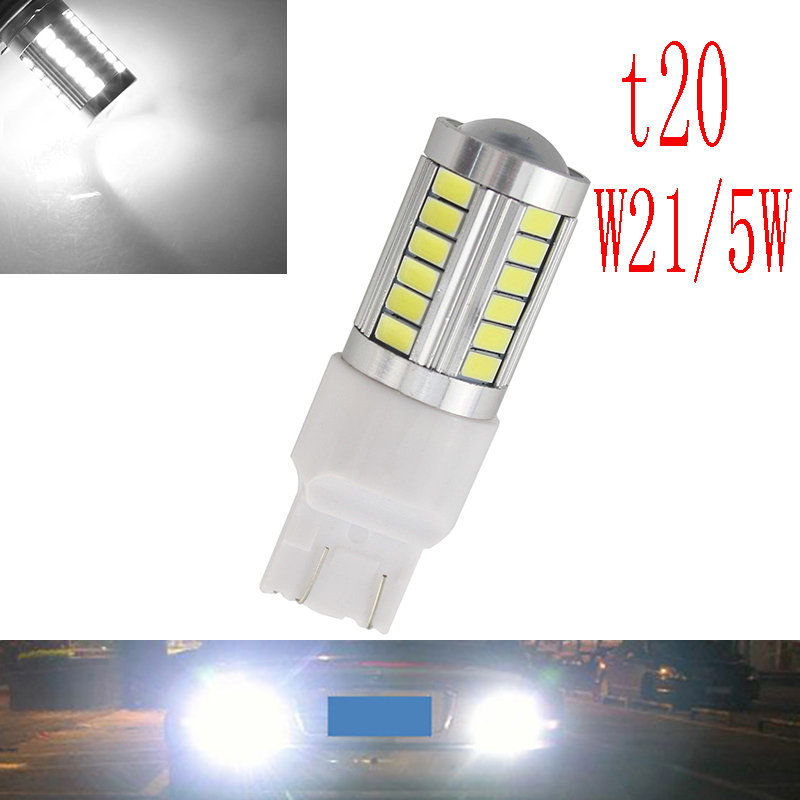 2xCar led T20 7443 W21/5W 33 LED 5630 5730 smd auto brake lights fog lamp reverse light car daytime running lights red white(China (Mainland))