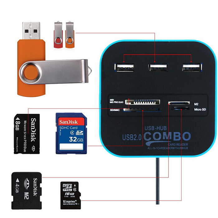 All In One Combo Multi-Card Reader With 3 Ports USB 2.0 Hub For SD/MMC/M2/MS/MP Pro Duo<br><br>Aliexpress
