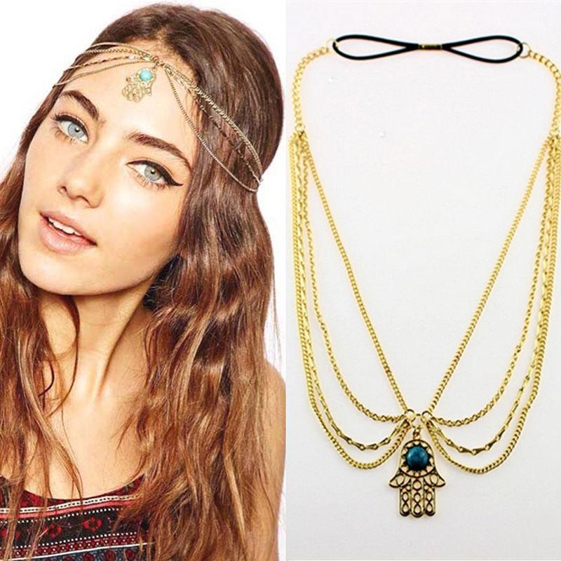 Gift Vintage Women Metal Rhinestone Head Chain Jewelry Headband Head Piece Hair Band Hair Accessories(China (Mainland))