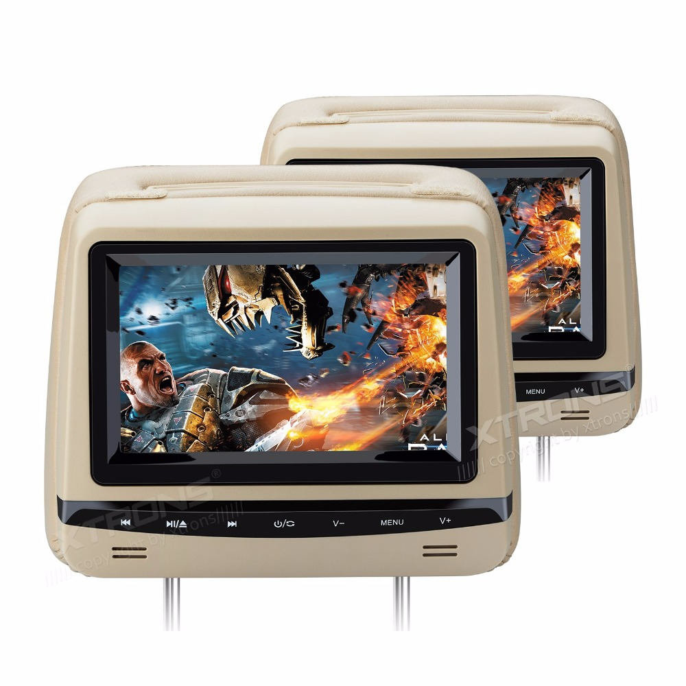 """2x7"""" Touch Panel Beige Headrest Car DVD Car Headrest DVD Headrest Monitor DVD with Anti-Theft Detachable Flat Leather Cover(China (Mainland))"""