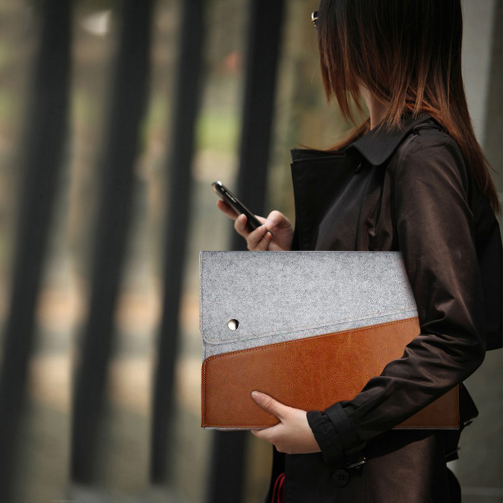 New Genuine leather case cover bag for Microsoft Surface pro12 3 4 Ultrabook Laptop Felt Sleeve pouch portfolio case with handle(China (Mainland))