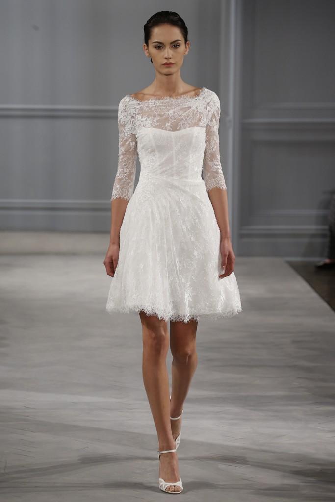 White lace short wedding dress 3 4 sleeve open back a line for Short open back wedding dresses