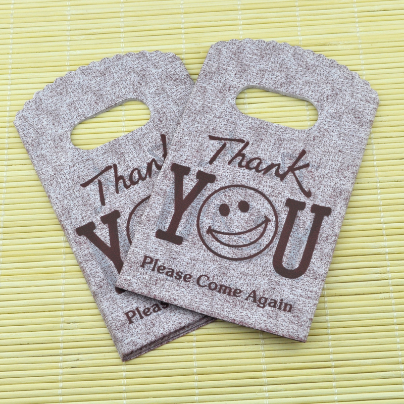 """Coffee """"Thank You"""" Design Plastic Bag 9x15cm Jewelry Boutique Gift Bag With Handle Plastic Shopping Bags And Packaging 100pcs(China (Mainland))"""