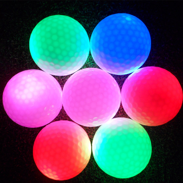 Night indoor outdoor sport funny electronic golf 4 light led flash ball yellow/red/purple/blue glowing in dark practice training(China (Mainland))