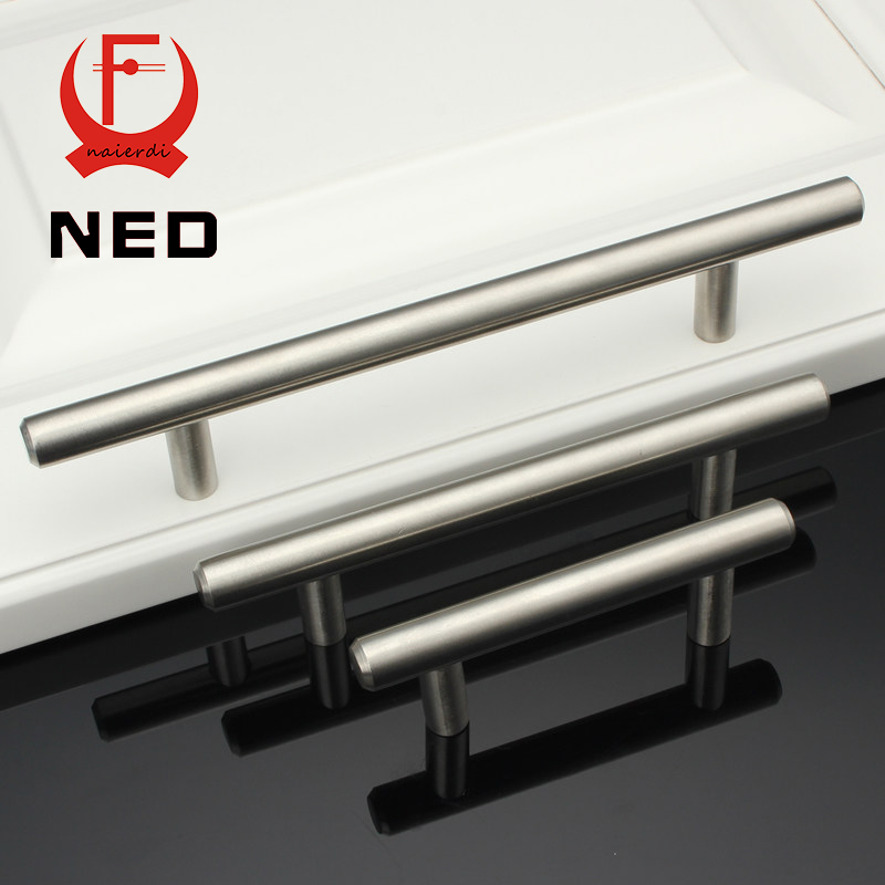 """NED 4"""" ~ 24'' Stainless Steel Handles Diameter 12mm Kitchen Door Cabinet T Bar Straight Handle Pull Knobs Furniture Hardware(China (Mainland))"""