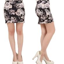 Sexy Womens High Waist Mini Skirt Cotton Stretch Plain Solid Floral Pencil Short Dress Print Lady Gift Sw265