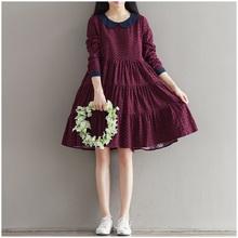 2016 Autumn Sweet Women Mini Dress Peter Pan Collar Long Sleeve Cotton Vestidos Femininos Wine Red Casual Princess Female Dress(China (Mainland))