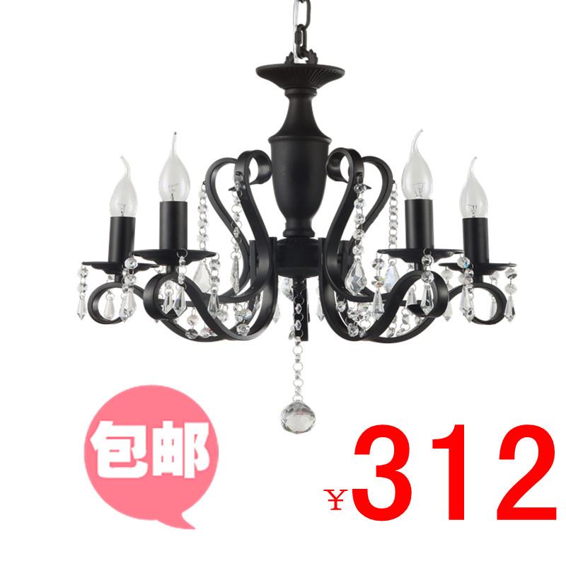 new arrival Nail art lighting brief iron lamp study light 9003 - 5 black crystal pendant light free shipping(China (Mainland))