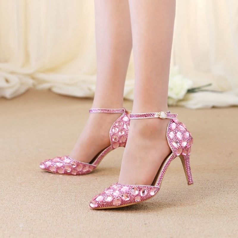 New Fashion Crystal Diamond Sandals Pointed Toe Pink Wedding Shoes for Bride Women Pumps Adult Ceremoney Shoes with Ankle Straps