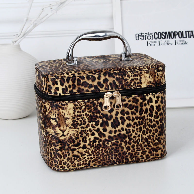 2015 new pu leather leopard cosmetic bag 4 colors professional beauty makeup case quality women travel organizer storage bag(China (Mainland))