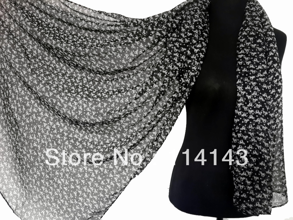 Cat Kitty Animal Print Scarf Shawl Wrap Voile Polyester Scarves 180*110cm, Free Shipping(China (Mainland))