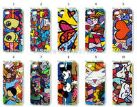 2014 HOT new design 1pcs/lot wholesale Romero Britto Girl  hard white case cover for iphone5 5s + free shipping