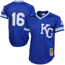 Men's Bo Jackson jerseys Mitchell & Ness Royal 1989 Authentic Cooperstown Collection Batting Mesh throwback Practice Jersey(China (Mainland))