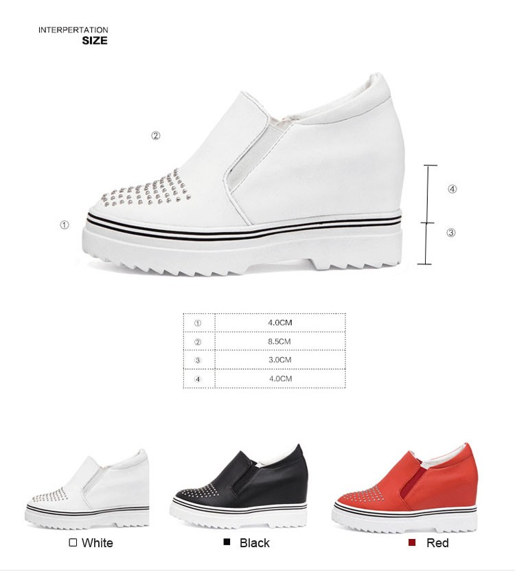 2016 New Spring Fall Fashion Genuine Leather Flat Women Loafers Shoes Height Increasing Platform Female Shoes White Black Red3.5