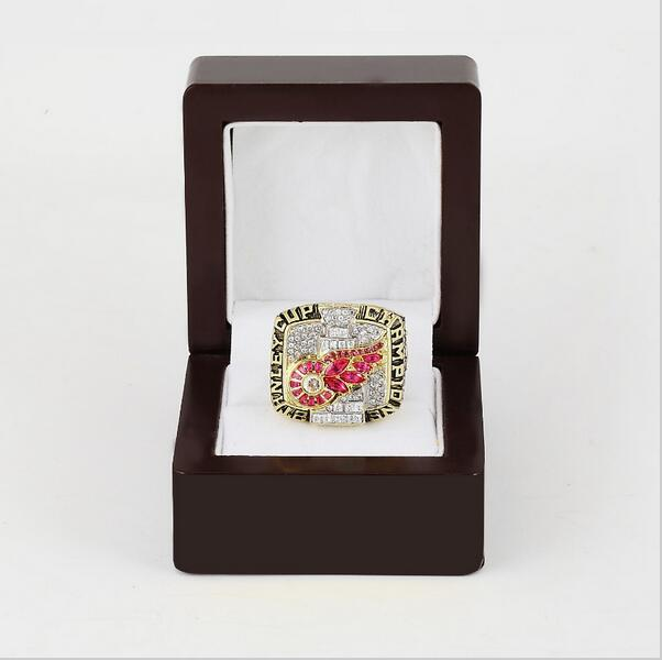 2002 NHL Detroit Red Wings Stanley Cup Championship Ring With Wooden Box Fans Best Gift Size 10-13(China (Mainland))