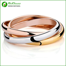 Buy  (10 pieces/lot) Siver titanium rings couple rose gold 316L stainless steel three color ring set wholesale RW0107 for $38.36 in AliExpress store