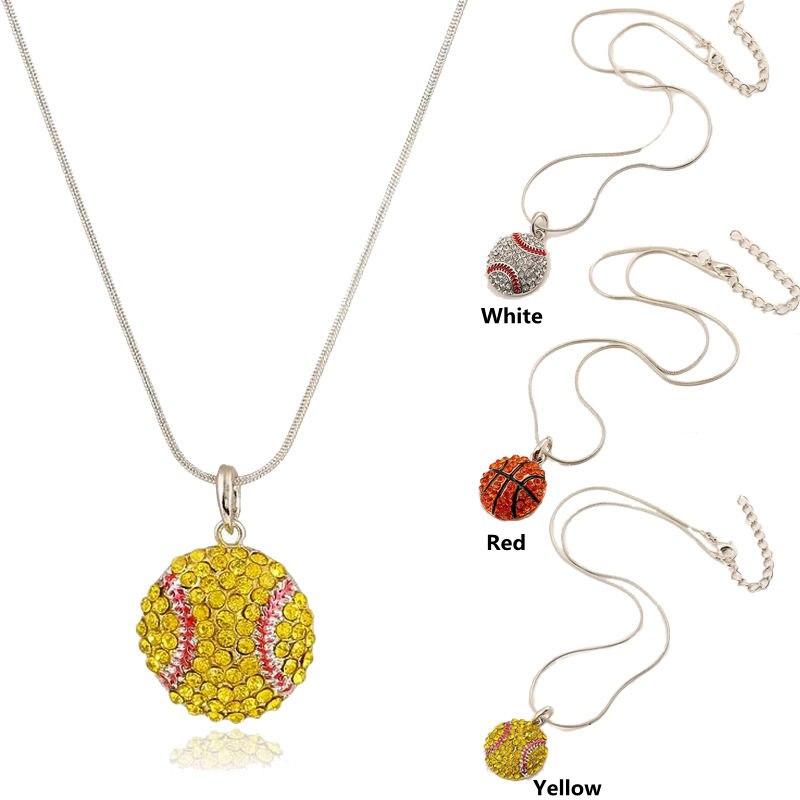 Basketball Baseball Softball Pendant Necklace Alloy Rhinestone Crystal Choker Collier Femme Sports Jewelry for Women Gift(China (Mainland))