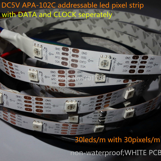 5M DC5V APA-102C addressable led pixel strip;30leds/m with 30pixels/m;WHITE PCB;non-waterproof