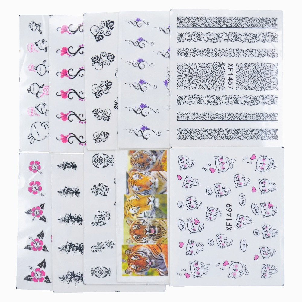 YZWLE 50 Sheets Mixed Styles Watermark Flower Cat Etc DIY Decals Nails Art Water Transfer Stickers For Manicure Salon(China (Mainland))