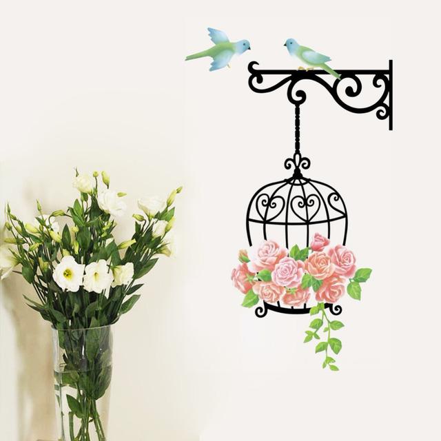 Мило птичья клетка птицы розы лозы стены настенной росписи наклейки виниловые наклейка дети детские декор 616 домашнее украшение стены искусства