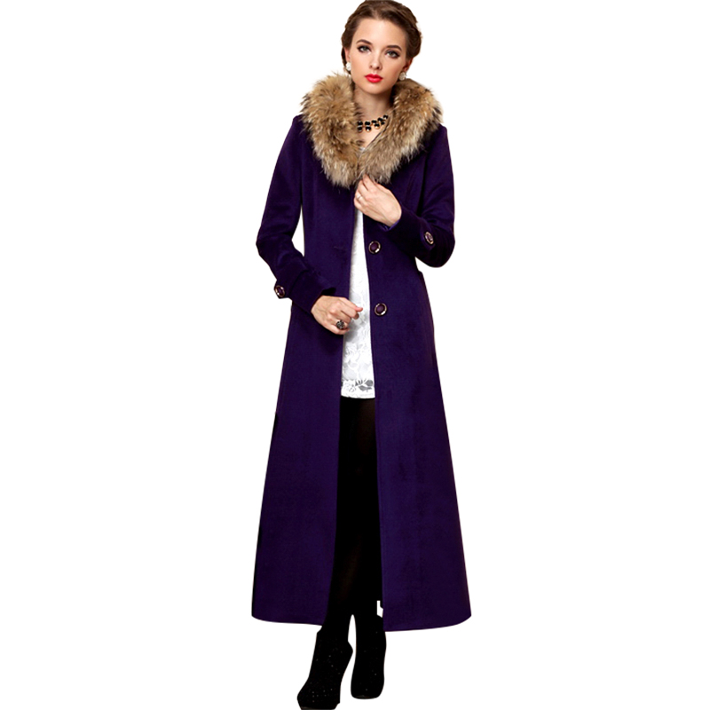 Women Winter Natural Raccoon Fur Maxi Wool Coats 2015 New Plus Size Purple Woolen Outerwear With Belt Abrigos Mujer 1548(China (Mainland))