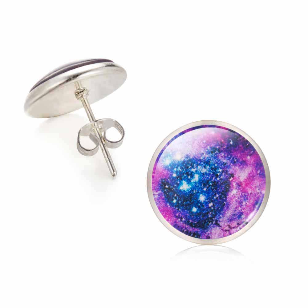 Galaxy Star Universe Glass Cabochon Silver Stud Earrings 2017 New Fashion Jewelry Earrings For Women Creative Gifts(China (Mainland))