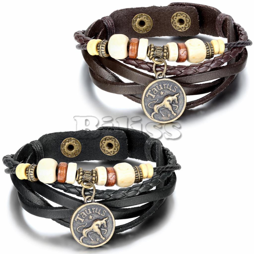 2015 Vintage Multilayer Braided Constellation Taurus Charm Bracelets Wristband Cuff Leather Bracelet For Women Men(China (Mainland))