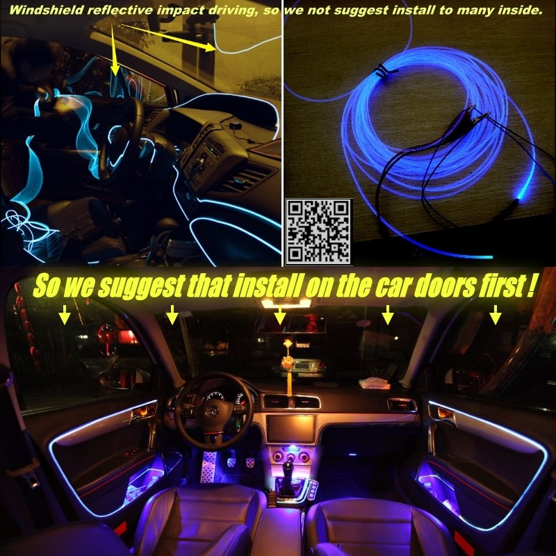 interior Ambient Light Tuning Atmosphere Fiber Optic Band Lights For Volkswagen VW Transporter T5 Caravelle Multivan Inside Door 3