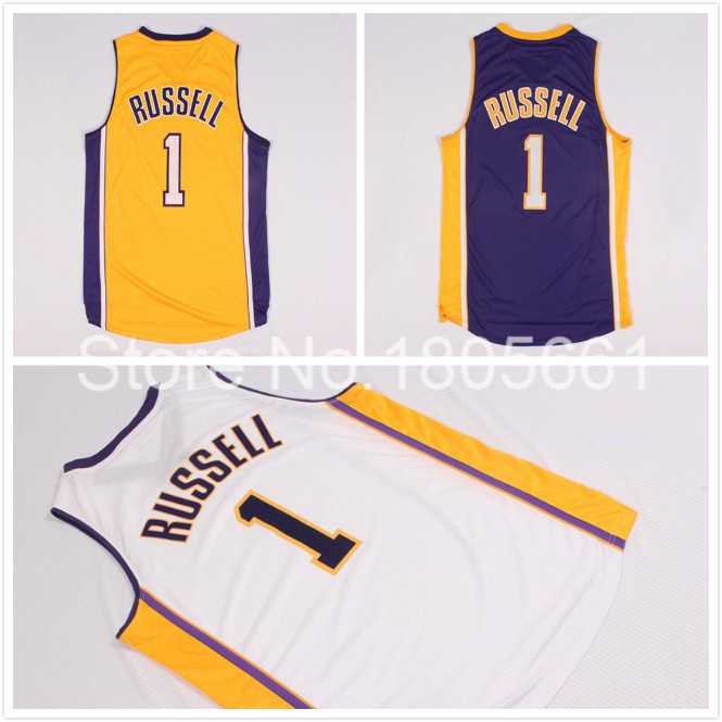 Los Angeles #1 D Angelo D'Angelo Russell Jersey, Draft15 Cheap Yellow purple White D'Angelo Russell Jersey, S-XXL Free Shipping(China (Mainland))