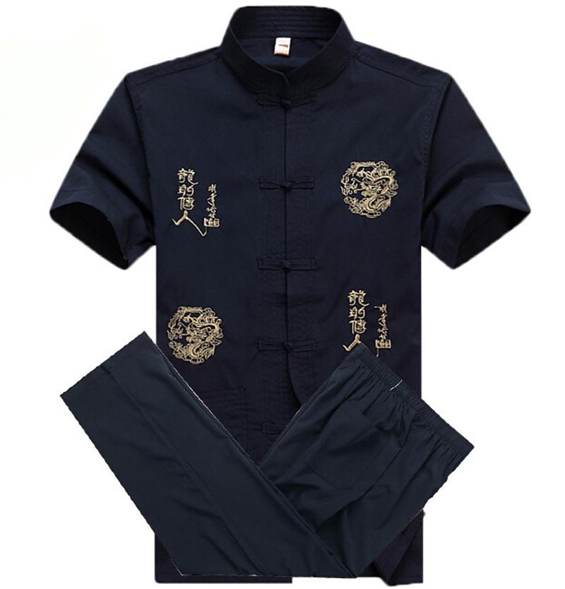 Traditional Chinese Men Cotton Kung Fu Suit Martial Arts Uniform Vintage Tai Chi Costume Shirt+Pants Sets M L XL XXL XXXL(China (Mainland))