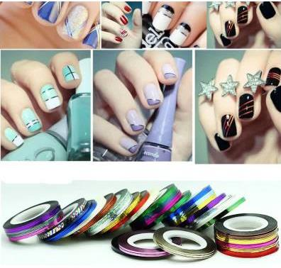1pc Nail art Kit supplies wholesale gold silver painted wire cable jewelry color solid color Nail Polish stickers(China (Mainland))