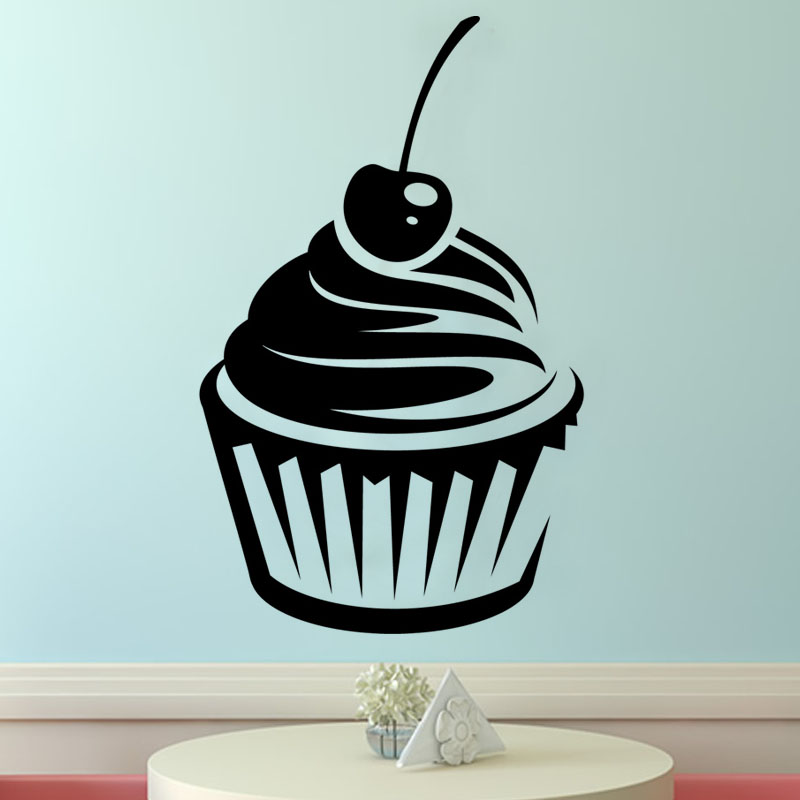 Simple Cherry Cupcake Wall Sticker Vinyl Removable Hollow Out DIY Home Decor Kitchen Wall Paper