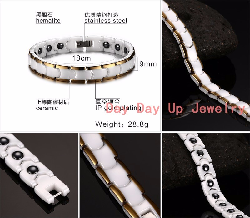 """7""""*9mm 28.8g Top White Ceramics Magnetic Health Therapy Care Energy Stainless Steel Mens Womens Bracelet Bangle Christmas Gift cheap"""
