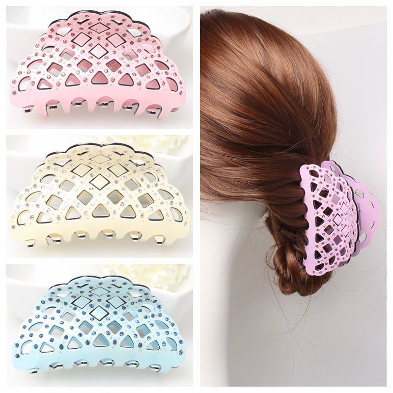 2015 Korean models Rhinestone Crystal Hair Claw Candy Color Pierced mesh plastic hair clips for women headpiece jewelry AS5052(China (Mainland))