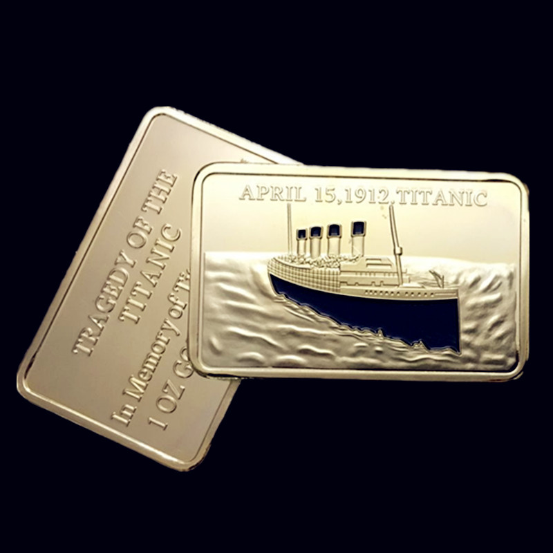 2 pcs/lot In memory of the victims Titanic ship 1912 voyage gold plated bullion bar souvenir Replica coin(China (Mainland))