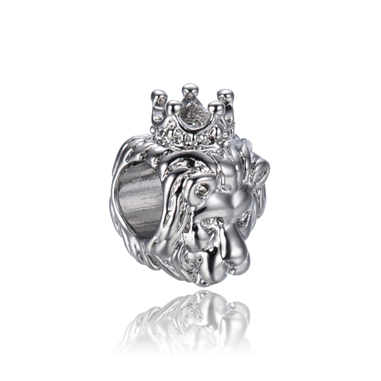 free shipping silver  plated lion king of jungle  big hole Bead Fits European Pandora Charm Bracelets & Necklaces PB009(China (Mainland))