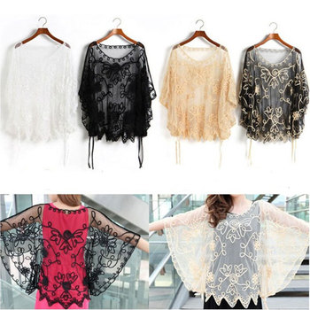 2013 Fashion Sexy Women Sheer Floral Embroidery Lace Crochet Blouse Tee Tops Plus Size See Through Blouse Free Shipping