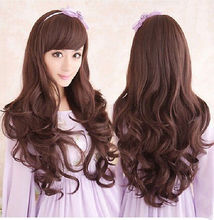 FREE P&P>>>>>Women Lady Brown Long Wave Curly Costume Cosplay Dress Party Hair New Wigs