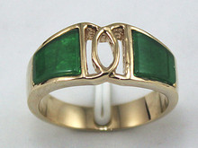 Genuine Green jade women's jewelry cute ring  size 8 9 18k yellow gold filled(China (Mainland))